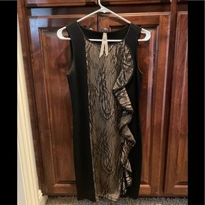 Black and lace ruffle cocktail dress